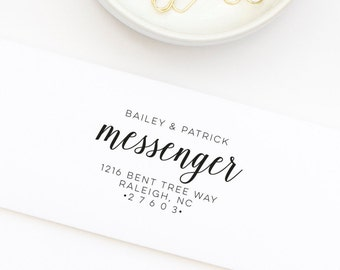 Custom Return Address Stamp, Personalized Address Stamp, Address Stamp With First and Last Names, Return Address Stamp - Stamp Style No. 84