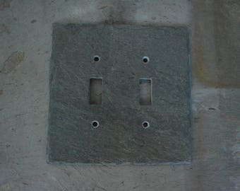 Reclaimed Gray Decorative Double Toggle Switch Plate Switchplate Slate Outlet Cover Switch Plate Wall Light DS