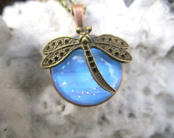 Miss shabby necklace with pendant with dragonfly Blue