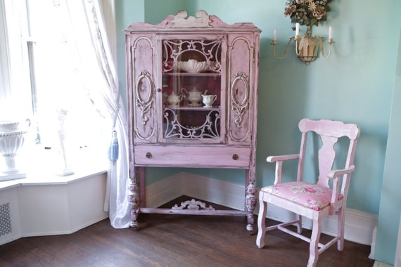 Like this item? - Custom Order Antique China Cabinet Shabby Chic Pink Distressed