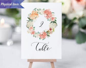 Printed Peach Cream Floral Wreath Table Number Cards, Physical item, Fast shipping, 4x6, 5x7, Rustic Wedding Reception Table Number Sign #02