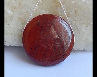 Red River Jasper Gemstone Round Pendant Bead,31x7mm,13.1g(s0901)