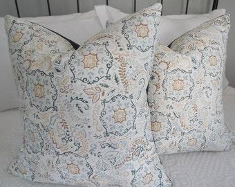 SALE. 18x18 Pillow Cover.Tan.Brown.Blue.Cream.Teal Disc Pillow Cover.Slip Cover.Home Decor.