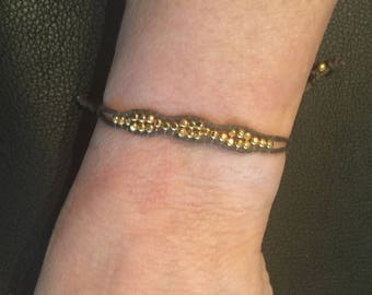 Gold Beaded and Brown Cord Adjustable Bracelet, Stacking, Layering, Delicate, Dainty, Tiny, Small Wrists, Wax, Slide, Thin