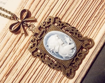 Bronze and Blue Cameo Necklace