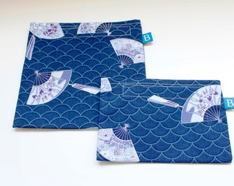 Reuseable Eco-Friendly Set of Snack and Sandwich Bags in Japanese Fans Fabric