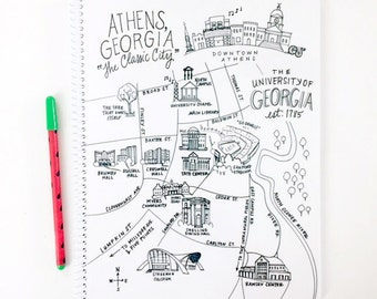 Large Athens, Georgia Campus UGA Map Spiral Bound Journal Notebook