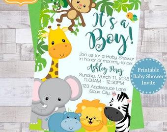 Safari Baby Shower Invitations, Printable Boy Baby Shower Invite, Jungle Baby Shower, Baby Animals Invite, Invitaciones para niño
