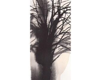 Grid Series No.1 bare trees 4 of 9, original watercolor