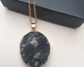 Gorgeous blue druzy gemstone necklace. (Design 4)