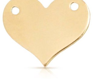 Blank Heart Connector 14Kt Gold Filled 10.9x13mm - 2 Pieces  Good Quality Wholesale Price (10934)/1