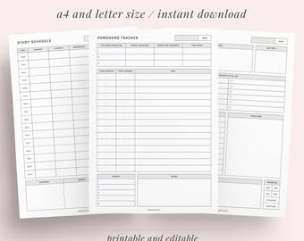 Study Printable Pack | College Student | Definition, Formula, Equation Sheet, Project, Essay, Daily, Weekly, Monthly Planner | A4 and Letter