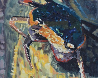 Crab Original Antique Oil Painting Animal Art Hand Painted On Canvas