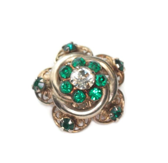 Green Rhinestone Star Shaped Pin Gold Tone Filigree Smaller Size Czech Lapel Collar Pin Brooch