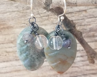 Dewdrop Earrings Woodland Inspired Moss Agate, Quartz, Labradorite Rustic