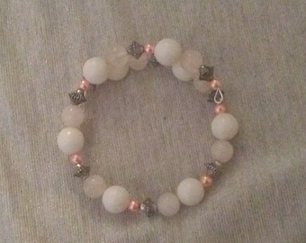 White, Silver, and Pink beaded wraparound bracelet