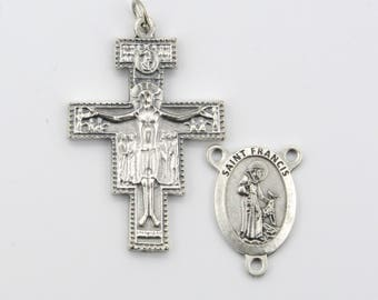 ITALY Saint FRANCIS Rosary Centerpiece San Damiano Crucifix ~ 2 piece Rosary Set ~ St. Francis Center Rosaries Parts Saint Francis Prayer