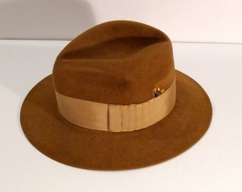 Fedora Hat 1960s 1970s Vintage Brown Wide Brim Hat Fur Velour with Feather Tomlison and Co Limited Mens Womens Hollywood Gangster Hipster
