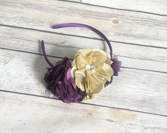 Gold flower headband, plum headband, eggplant headband, gold headband, girl hair accessories, bridal headband, flower girl accessories