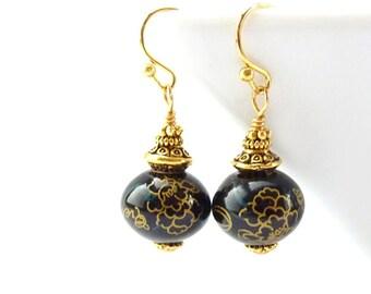 Black & Gold Earrings - Porcelain Beads - Antiqued Gold Swirls Flowers - Petite Dangle Earrings - Handmade Jewelry