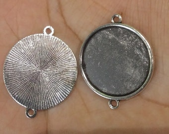 Silver tone 25mm tray connector cabochon setting 6pcs - A12:7