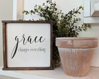 Farmhouse inspired 'grace changes everything' small square framed wood sign