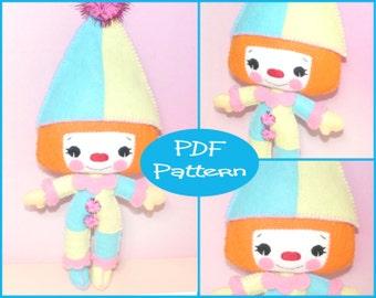 PDF Pattern - Charlotte The Clown,  Felt Doll Pattern, Clown Doll, Felt Tutorial, Sewing Tutorial, Sewing Pattern, Doll Making, Felt Plush,