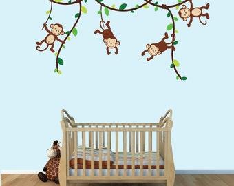 Baby Boy Monkey Wall Decals, Monkey Decal, Childrens Decals, (Green Brown), MVD