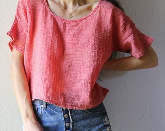 Cotton Gauze Box Tee // Coral Pink, Size M