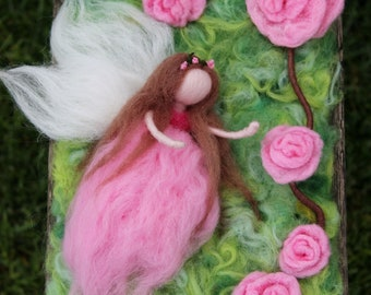 Pink Fairy with Roses -  Needle Felting Fairy - Wed Felting Roses- 3D Wall Decor Waldorf doll - Spring Decoration - Pure Merino Wool