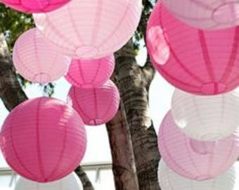 18x 20cm White Pinks Paper Lanterns for Wedding Party Baby Shower 21 Birthday Nursery Home Hanging Decoration