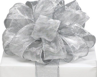 "Elegant Silver 1-1/2""W x 5YDS Sheer Organza Wired Edge Ribbon"