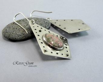 Silver Earrings, Nevada Lapis Earrings, Gemstone Earrings, Earthy Rustic Primitive Tribal Textural, Artisan Silver Earrings