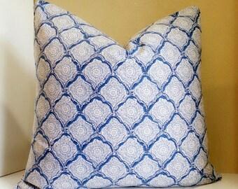Kravet Indigo Kashmira - Fabric Both sides -  Customize your pillow size during checkout