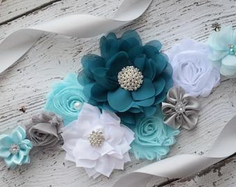 Sash, Teal grey blue white Sash , flower Belt, maternity sash
