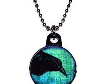Teal Crow Raven Black Bird Necklace