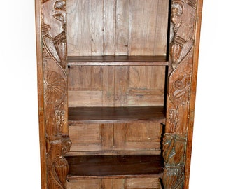 Conscious Design Antique Indian Wooden Bookcase Beautiful Hand Carving Bookshelf