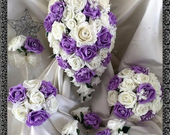 Wedding Flowers Lilac  & Ivory wedding bouquets with butterflies, Brides, Bridesmaids, Flowergirls etc