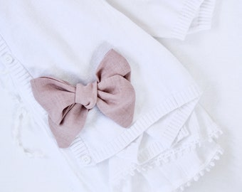 Hand Tied Hair Bow 100% Linen Large Pinwheel in Dusty Pink // Clip or Band