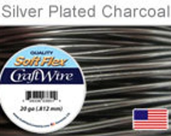 20 Gauge Charcoal Silver Plated Wire, Soft Flex, Tarnish Resistant,  Round, Supplies, Findings, Craft Wire
