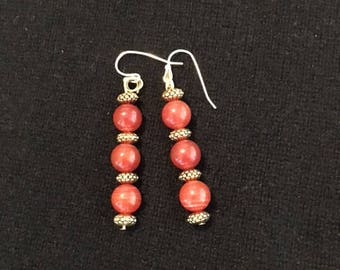Carnelian and Golden Bead Earrings