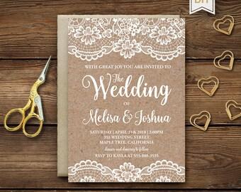 Rustic Wedding Invitation Template, Kraft Wedding Invite, Rustic Bridal Shower Template Invitations, Instant Download, Editable DIY, RB