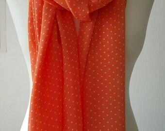 Orange / coral long scarf, Polka dot chiffon scarf, orange polka dot scarf, orange and white spotty scarf, coral/ peach spotty scarf