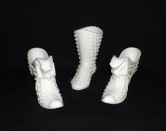 Fenton Hobnail Milk Glass Shoe/Boot// White Milk Glass Boot / Vintage Hobnail White Milk Glass Cat Shoe // Milk Glass Shoe and Boot-pick one