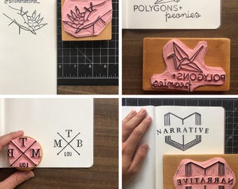 Custom Logo Stamp - Hand Carved Rubber Stamp - Any Size - Small business Branding
