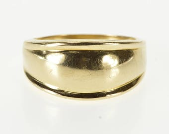 14K Rounded Domed Grooved Trim Graduated Band Ring Size 7.75 Yellow Gold