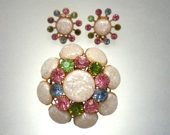 Confetti Lucite Pastel Rhinestone Brooch Earring Set