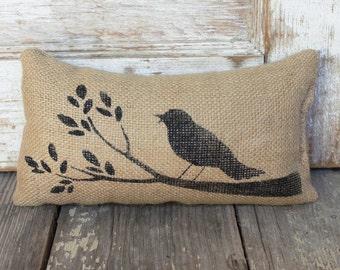 Bird and Branch -  Burlap Feed Sack Doorstop - Door Stop - Bird Decor