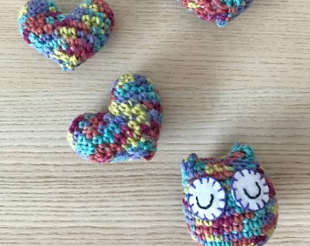 Crochet Owl with Hearts