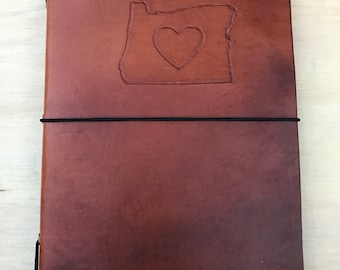 Leather Traveler's Style Journal/Notebook Refillable - Heart Oregon Style
